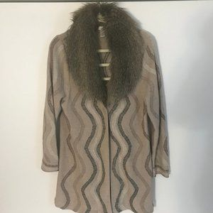 Chico's Size 2 (L) Sweater Long Duster W/ Faux Fur